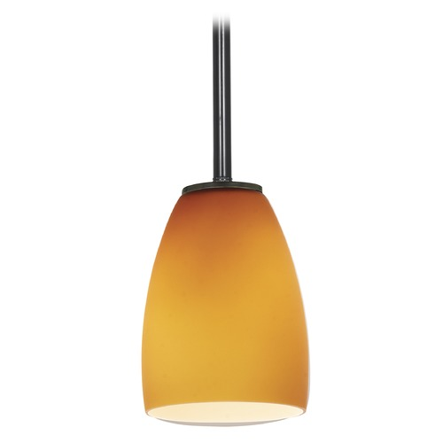Access Lighting Modern Mini-Pendant Light with Amber Glass 28069-1R-ORB/AMB