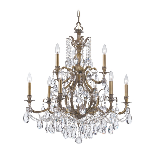 Crystorama Lighting Crystal Chandelier in Antique Brass Finish 5579-AB-CL-SAQ