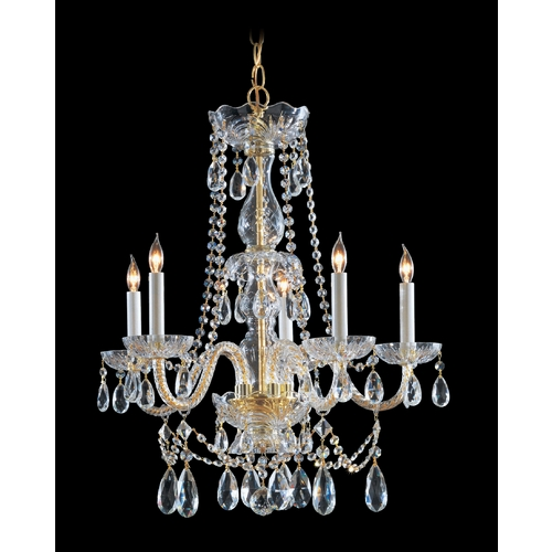 Crystorama Lighting Crystal Chandelier in Polished Brass Finish 1125-PB-CL-SAQ