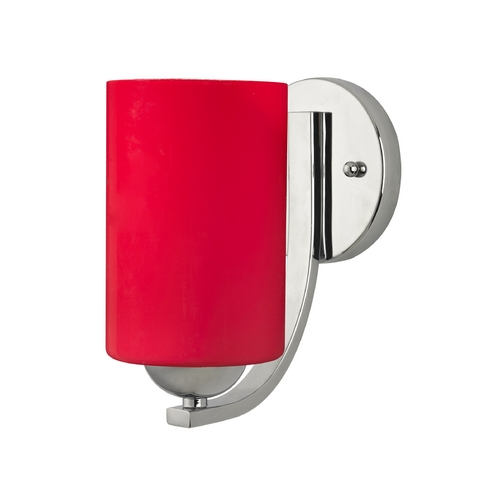Design Classics Lighting Chrome Wall Sconce with Red Cylinder Glass 585-26 GL1008C