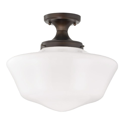 Design Classics Lighting 16-Inch Wide Schoolhouse Ceiling Light in Bronze Finish FES-220/ GA16