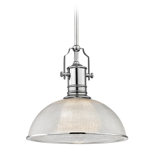 Design Classics Lighting Farmhouse Industrial Prismatic Glass Pendant Light Chrome 13.13-Inch Wide 1765-26 G1780-FC R1780-26