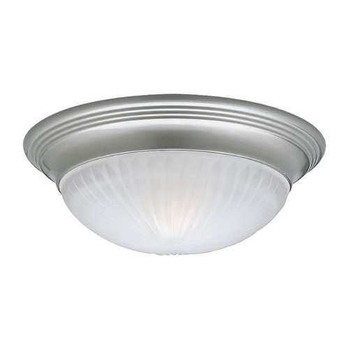 Progress Lighting Progress Flushmount Light with White Glass in Brushed Nickel Finish P3761-09EBWB
