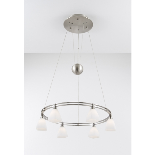 Holtkoetter Lighting Holtkoetter Modern Low Voltage Pendant Light with White Glass in Satin Nickel Finish 5556 SN G5015