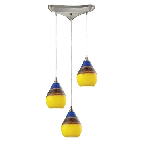 Elk Lighting Elk Lighting Dunes Satin Nickel Multi-Light Pendant with Bowl / Dome Shade 31616/3