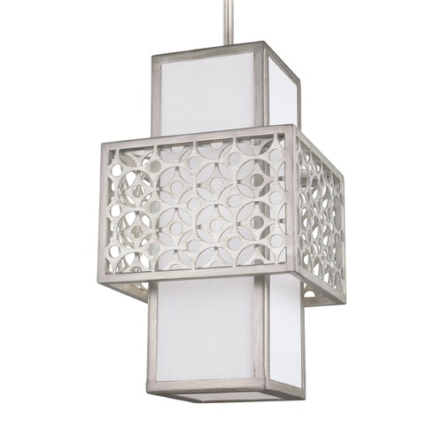 Feiss Lighting Feiss Lighting Kenny Sunrise Silver Mini-Pendant Light with Rectangle Shade P1421SRS