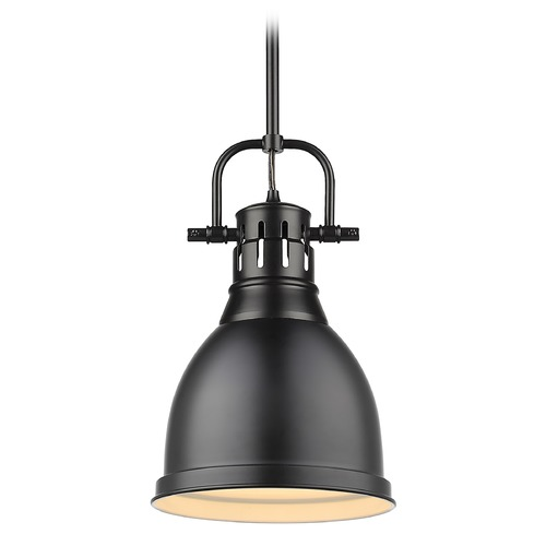 Golden Lighting Golden Lighting Duncan Black Mini-Pendant Light with Matte Black Shade 3604-SBLK-BLK