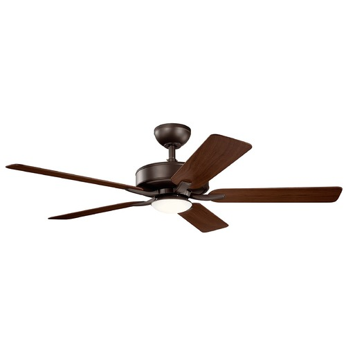 Kichler Lighting Basics Pro Designer Satin Natural Bronze LED 52-Inch Ceiling Fan with Light 3000K 330019SNB