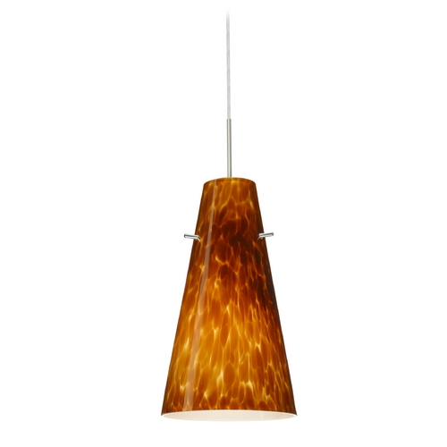 Besa Lighting Modern Pendant Light with Amber Glass in Satin Nickel Finish 1JT-412418-SN