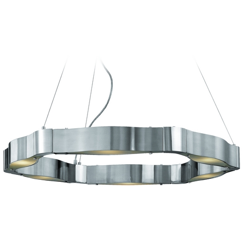 Access Lighting Modern Chandelier with White Glass in Brushed Steel Finish 62317-BS/FST