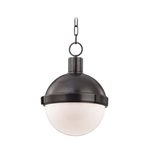 Hudson Valley Lighting Pendant Light with White Glass in Old Bronze Finish 612-OB