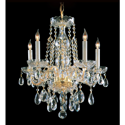 Crystorama Lighting Crystal Mini-Chandelier in Polished Brass Finish 1061-PB-CL-MWP