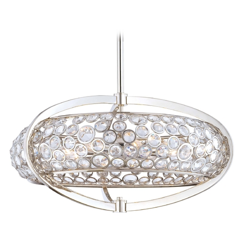 Metropolitan Lighting Crystal Pendant Light in Polished Nickel Finish N6756-613