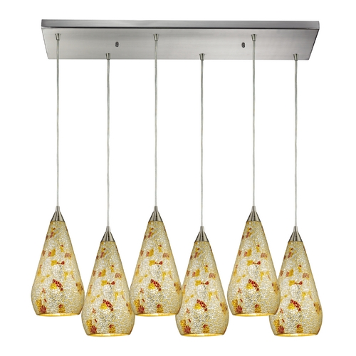 Elk Lighting Modern Multi-Light Pendant Light with Multi-Color Glass and 6-Lights 546-6RC-SLVM-CRC
