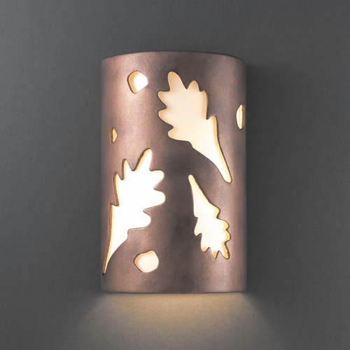 Justice Design Group Outdoor Wall Light with White in Antique Copper Finish CER-5460W-ANTC