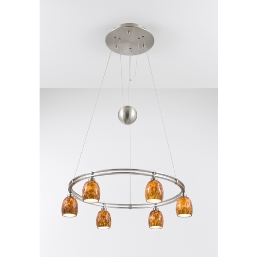 Holtkoetter Lighting Holtkoetter Modern Low Voltage Pendant Light with Amber Glass in Satin Nickel Finish 5556 SN G5020
