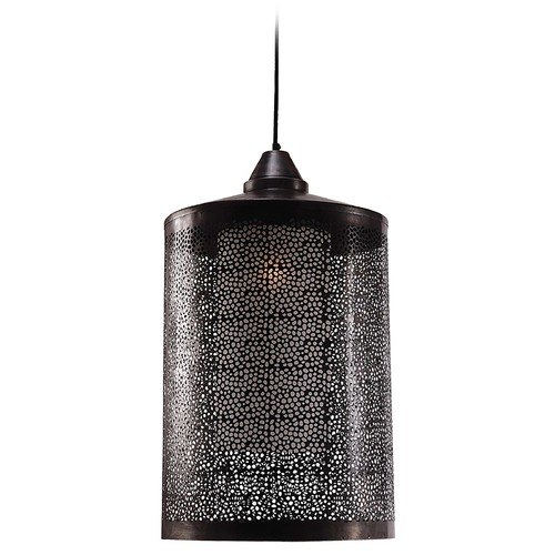 Kenroy Home Lighting Kenroy Home Lighting Sorcerer Black Zinc Pendant Light with Cylindrical Shade 93440BLZ