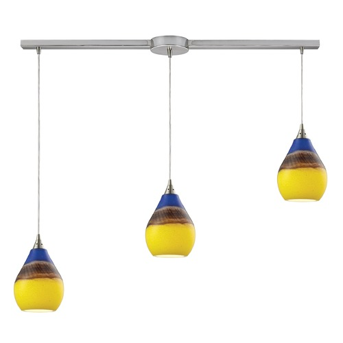 Elk Lighting Elk Lighting Dunes Satin Nickel Multi-Light Pendant with Bowl / Dome Shade 31616/3L