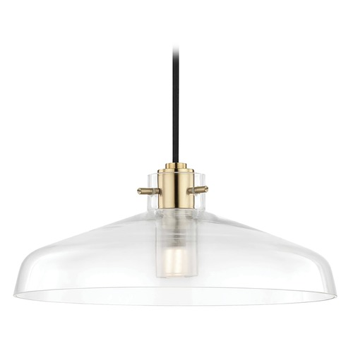 Mitzi by Hudson Valley Transitional LED Pendant Light Pendant Brass 12-inch Wide by Hudson H128701A-AGB