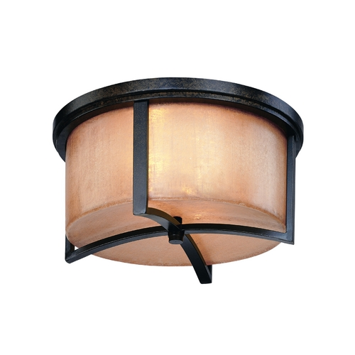 Troy Lighting Flushmount Light with Beige / Cream Glass in Antique Bronze Finish C1742ABZ
