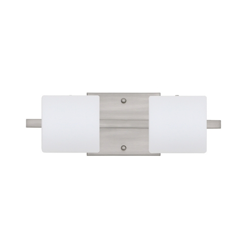 Besa Lighting Modern Bathroom Light with White Glass in Satin Nickel Finish 2WS-787307-SN