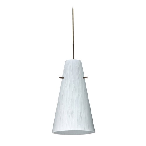 Besa Lighting Modern Pendant Light with White Glass in Bronze Finish 1JT-412419-BR