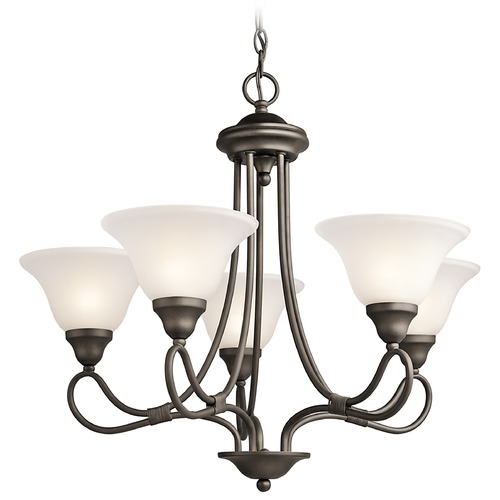Kichler Lighting Kichler Chandelier with White Glass in Olde Bronze Finish 2557OZ