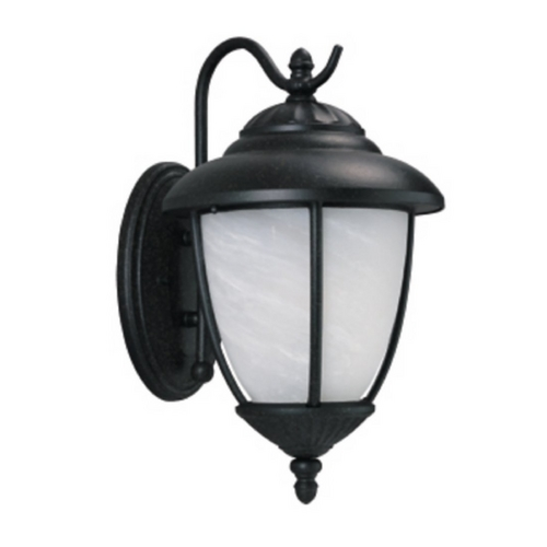 Sea Gull Lighting Outdoor Wall Light with White Glass in Black Finish 89250BLE-12