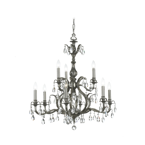Crystorama Lighting Crystal Chandelier in Pewter Finish 5569-PW-CL-S