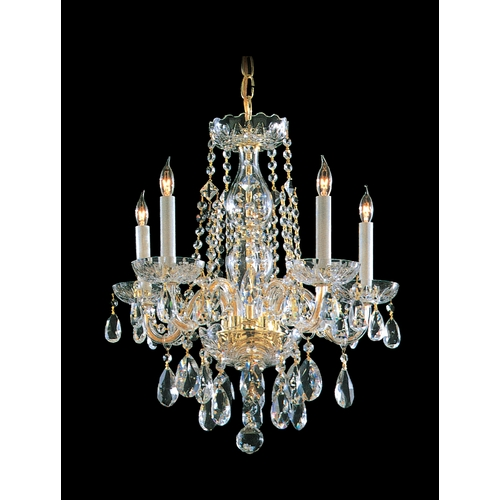 Crystorama Lighting Crystal Mini-Chandelier in Polished Brass Finish 1061-PB-CL-S
