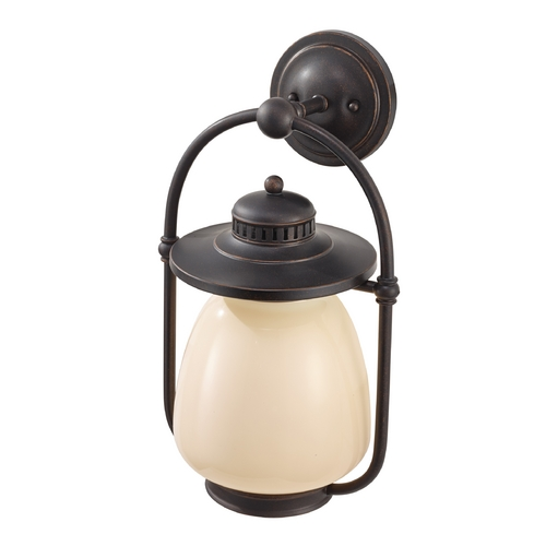Feiss Lighting Outdoor Wall Light with Beige / Cream Glass in Grecian Bronze Finish OLPL7402GBZ