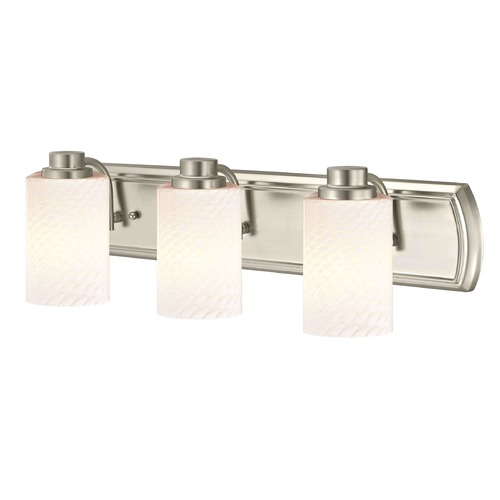 Design Classics Lighting 3-Light Bath Wall Light in Satin Nickel with White Cylinder Art Glass 1203-09 GL1020C