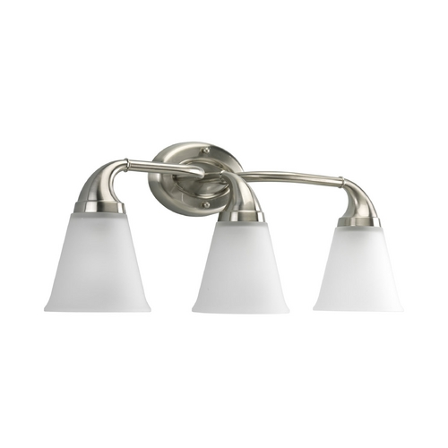 Progress Lighting Progress Bathroom Light with White Glass in Brushed Nickel Finish P2760-09