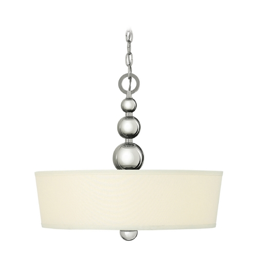 Hinkley Lighting Drum Pendant Light with White Shade in Polished Nickel Finish 3444PN