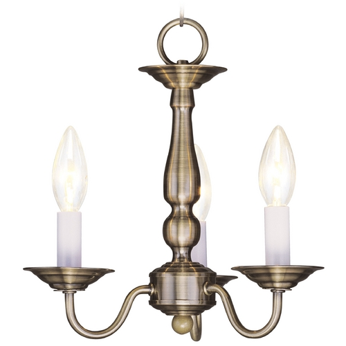 Livex Lighting Livex Lighting Williamsburg Antique Brass Mini-Chandelier 5009-01