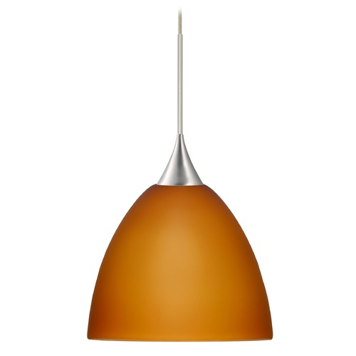 Besa Lighting Besa Lighting Sasha Satin Nickel Pendant Light with Bell Shade 1XT-757080-SN