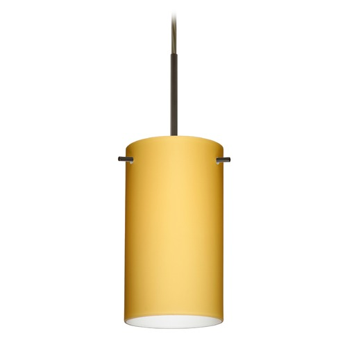 Besa Lighting Besa Lighting Stilo Bronze LED Mini-Pendant Light with Cylindrical Shade 1BT-4404VM-LED-BR