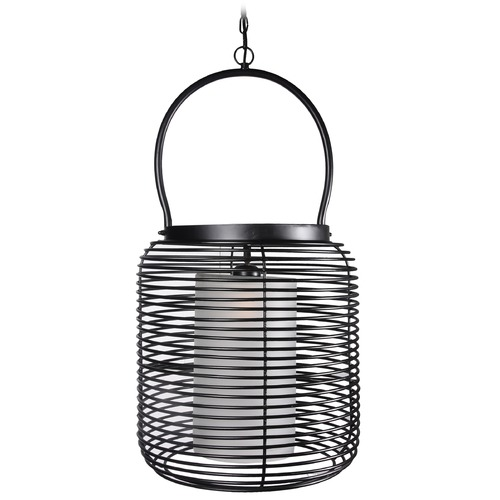 Kenroy Home Lighting Kenroy Home Lighting Foundry Black Pendant Light with Cylindrical Shade 93047BL
