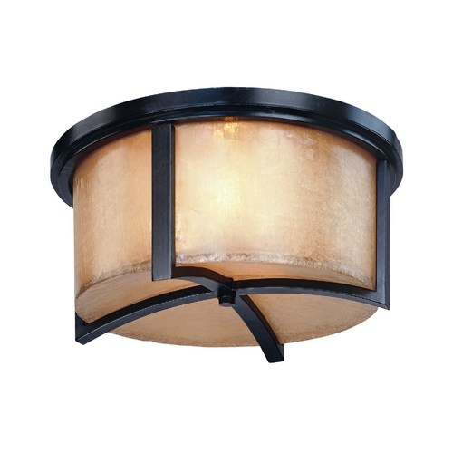Troy Lighting Flushmount Light with Beige / Cream Glass in Antique Bronze Finish C1741ABZ