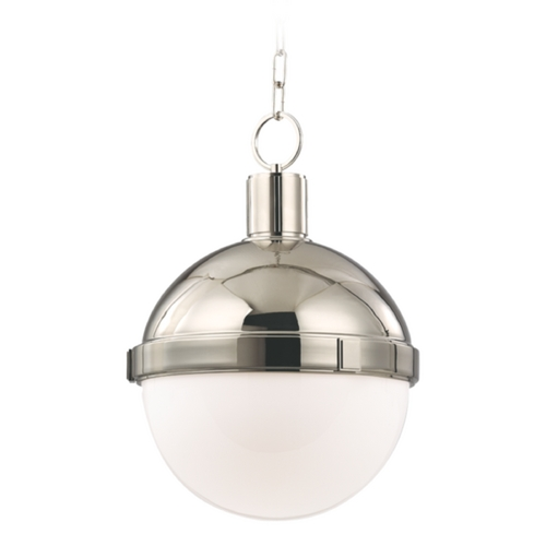 Hudson Valley Lighting Pendant Light with White Glass in Satin Nickel Finish 612-SN