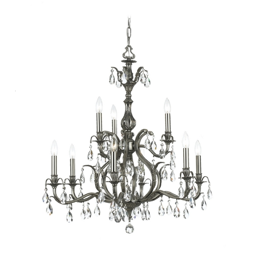 Crystorama Lighting Crystal Chandelier in Pewter Finish 5569-PW-CL-SAQ