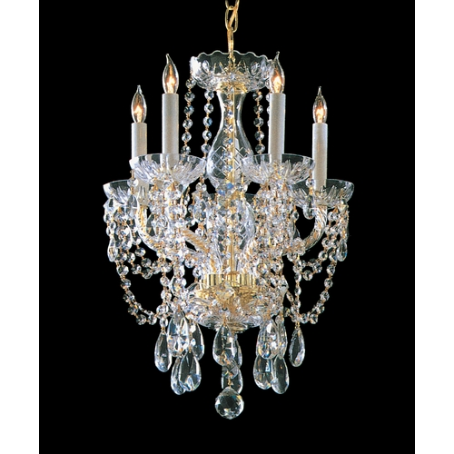 Crystorama Lighting Crystal Mini-Chandelier in Polished Brass Finish 1129-PB-CL-MWP