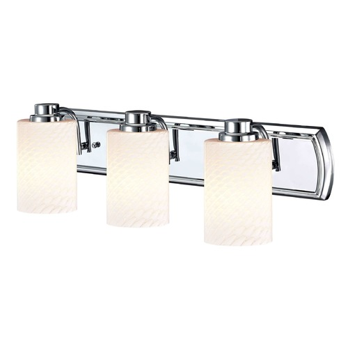 Design Classics Lighting 3-Light Bath Vanity Light in Chrome with White Cylinder Art Glass 1203-26 GL1020C