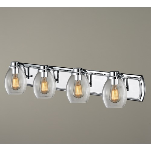 Design Classics Lighting Industrial 4-Light Vanity Light with Clear Glass in Chrome 1204-26 GL1034-CLR