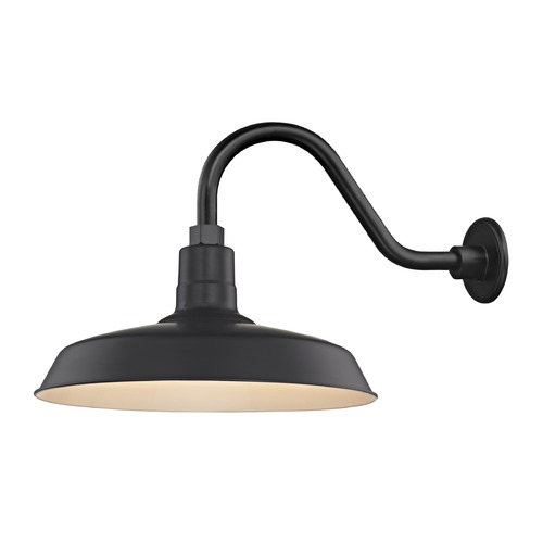 Recesso Lighting by Dolan Designs Black Gooseneck Barn Light with 16-Inch Shade BL-ARMC-BLK/SH16-BLK