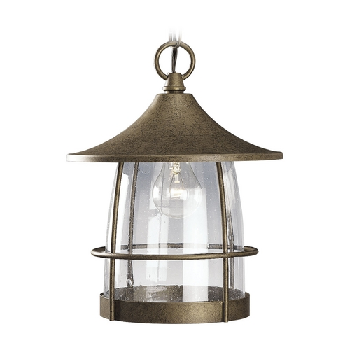Progress Lighting Seeded Glass Outdoor Hanging Light Bronze Progress Lighting P5563-86