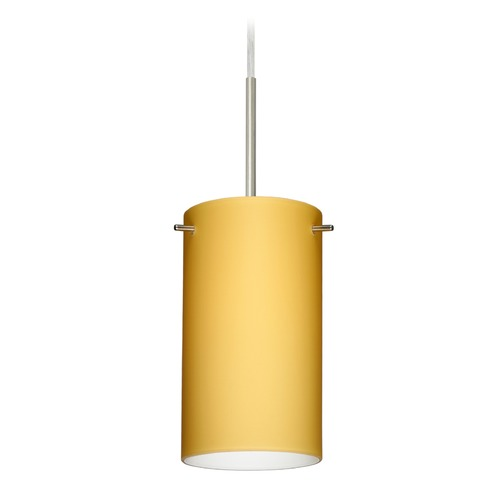 Besa Lighting Besa Lighting Stilo Satin Nickel LED Mini-Pendant Light with Cylindrical Shade 1BT-4404VM-LED-SN