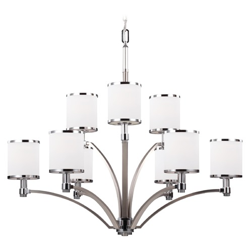 Feiss Lighting Feiss Lighting Prospect Park Satin Nickel / Chrome Chandelier F3085/9SN/CH