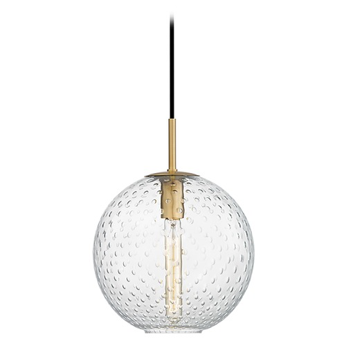 Hudson Valley Lighting Hudson Valley Lighting Rousseau Aged Brass Pendant Light with Globe Shade 2010-AGB-CL