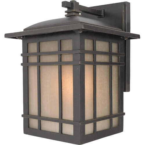 Quoizel Lighting Outdoor Wall Light with Amber Glass in Imperial Bronze Finish HC8407IBFL
